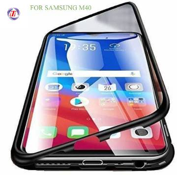 Samsung Galaxy M40 Magnetic Adsorption Metal Bumper Slim Tempered Glass Cover