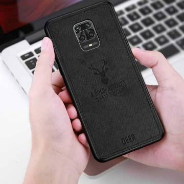 Deer Cloth Phone Cover Shockproof For Mi Redmi Note 9 Pro-Black