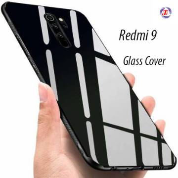 Redmi 9 Tempered Glass Protector Casing Glass Back Phone Cover Black & White