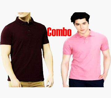2 pcs cotton polo shirt Combo offer  -magneta and Pink