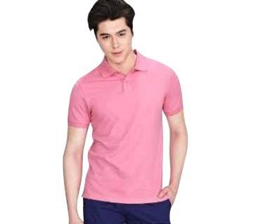 Black Cotton Polo T Shirt For-Black