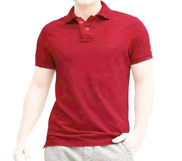 solid color half sleeve Cotton Polo-Shirt For Man--red