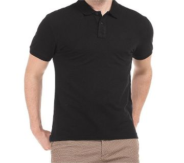 solid color half sleeve Cotton Polo-Shirt For Man--BLACK