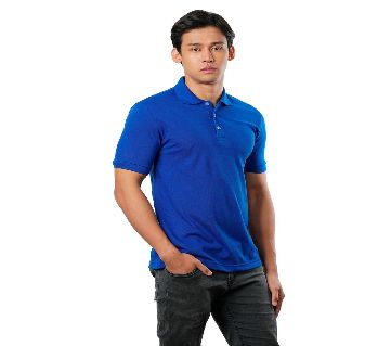 solid color half sleeve Cotton Polo-Shirt For Man-blue
