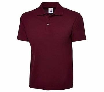 Maroon half sleeve cotton polo-shirt for men