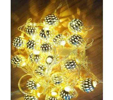 LED METAL BALL GOLDEN COLOUR Light -20 PIECE-12 FEET