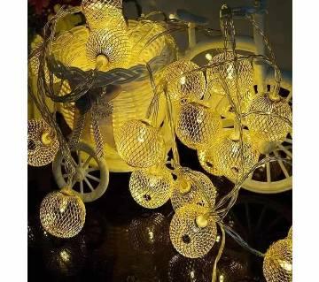 LED GOLDEN COLOUR METAL JHALI BALL-20 PIECE-12 FEET