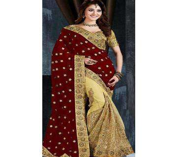 Embroidery Party Wear Designer Georgette Saree With Blouse Piece