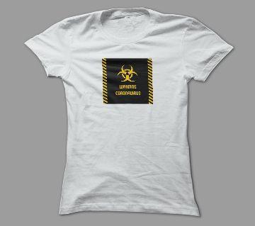 Warning For Virus White Polyester T-Shirt