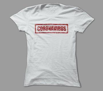 Corona Virus 2 White Polyester T-Shirt