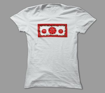 Angry Virus White Polyester T-Shirt