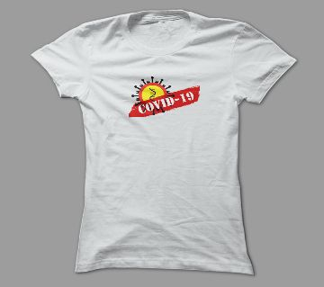 Covid-19 White Polyester T-Shirt