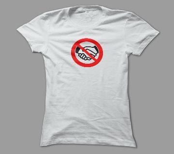 No HandShake White Polyester T-Shirt