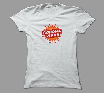 Novel Corona Cov-19 White Polyester T-Shirt