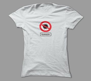 Danger For Virus White Polyester T-Shirt