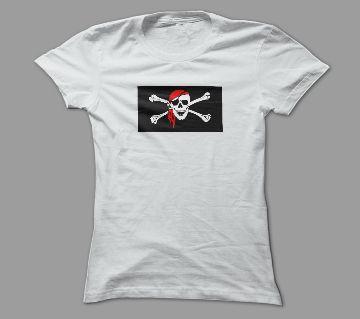 Danger Skull Ghost White Polyester T-Shirt