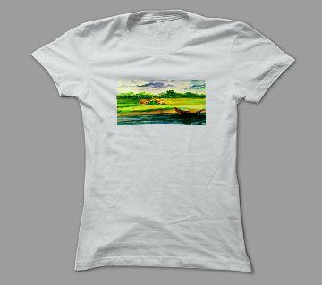 Art Gram Bangla White Polyester T-Shirt