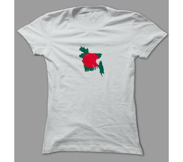 Red Green Bangladesh Map White Polyester T-Shirt