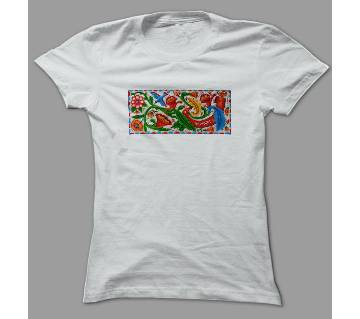 Art Flower Bangladesh White Polyester T-Shirt