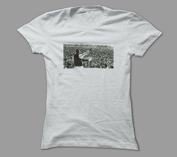 7th March Bangabandhu Vashon White Polyester T-Shirt