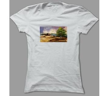 Art Nature Scene White Polyester T-Shirt