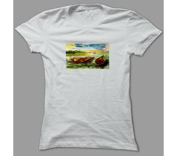 Evergreen Bangladesh White Polyester T-Shirt