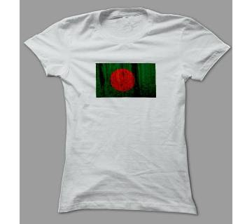 Bangladesh Flag White Polyester T-Shirt