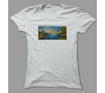 Village Scene White Polyester T-Shirt