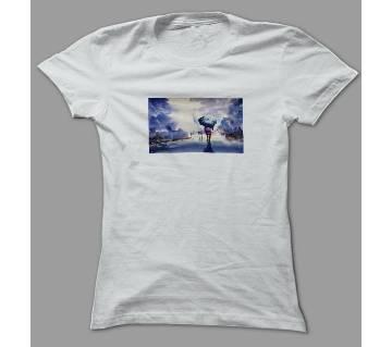 Rainy Scene White Polyester T-Shirt