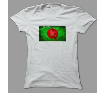 Bangladesh Flag And Map Art White Polyester T-Shirt