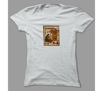 Art Bangladesh Village White Polyester T-Shirt