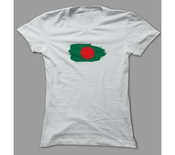 Red Green Bangladesh White Polyester T-Shirt