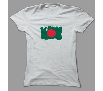 Art BD Flag White Polyester T-Shirt
