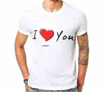 I love you Half Sleeve Cotton  T-Shirt For Valentine
