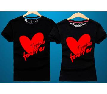Together   Half Sleeve Cotton Couple T-Shirt-Black and Red