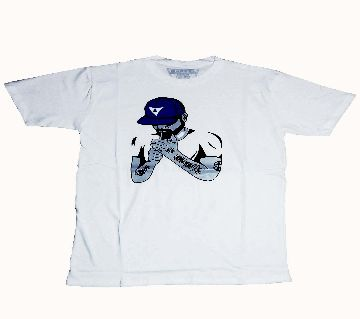 Blue hat cotton White tshirt for men
