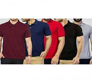 MULTICOLOR Mens New Casual Half Sleeve Polo t-Shirt For Men 5 pack Combo Pack of 5