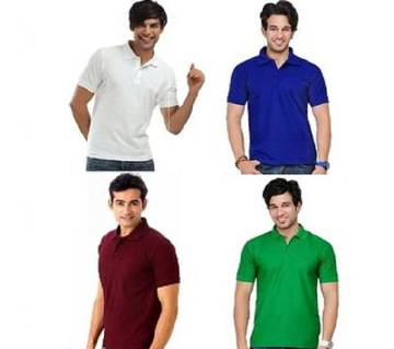 MULTICOLOR Mens New Casual Half Sleeve Polo t-Shirt For Men 4 packs.. Combo Pack of 4