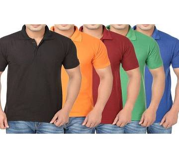 MULTICOLOR Mens New Casual Half Sleeve Polo t-Shirt For Men 5 combo pack Combo Pack of 5