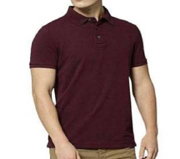 Mens New Casual Half Sleeve Polo t-Shirt For Men maroon color