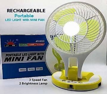 Portable LED Light With Mini Fan Rechargeable