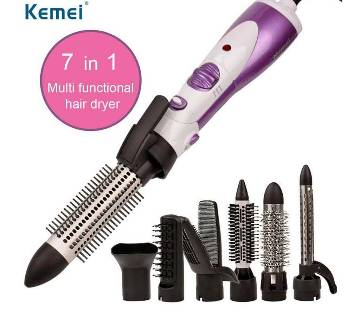 KEMEI KM-585 7IN1 হেয়ার ড্রাইয়ার MULTIFUNCTION CURL HAIR CURLER PORTABLE HOT AND COLD CURLER WAND STRAIGHTENER IRON