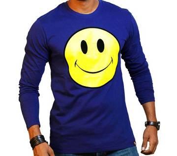 Smile Emoji Gents Full Sleeve Cotton T-shirt