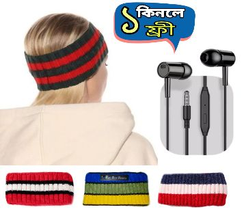Winter Hat Hair Band (1 piece) With Stereo Earphones-microphone free
