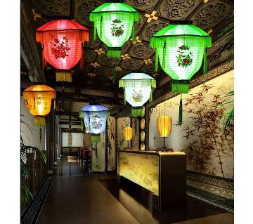 Festival Lantern Party Supplies Embroidered Mid-Autumn Festival LED Lanterns-Multi Color