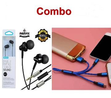 Remax RM 501 Earphone Stereo with Microphone + Type 3-in-1 USB Cable Fast Charging Cable for Android, MicrC, iphone