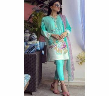 Unstitched Cotton ink print salwar kameez for women