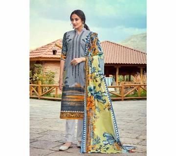 Unstitched Lawn Cotton 3Pcs Cosmos Saadia Noor Vol 2 - D.No: 2004 - UNC