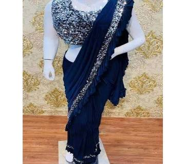 Shamu silk saree with sequence work and ruffle design with blouse