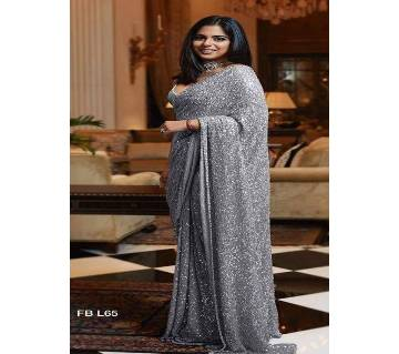 Silk sharee for women with blouse -coal color